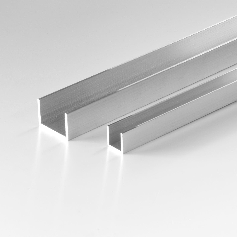 Aluminium U-Profil Schiene Walzblankes Alu Profil 15x15x15x2 mm 1000mm